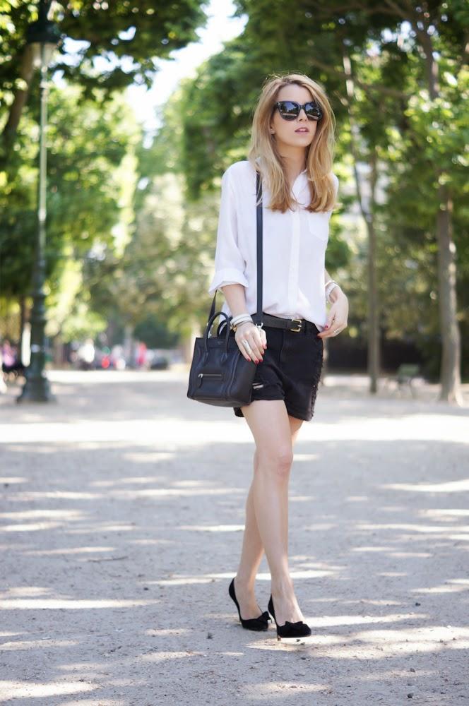 Equipment, mango, shorts, isabel marant, heels, blonde, streetstyle, paris, parisienne, outfit