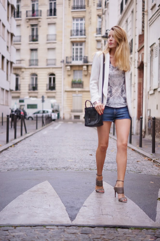 zadig et voltaire, alexander macqueen, céline, denim shorts, blonde, parisienne, streetstyle, outfit, look du jour
