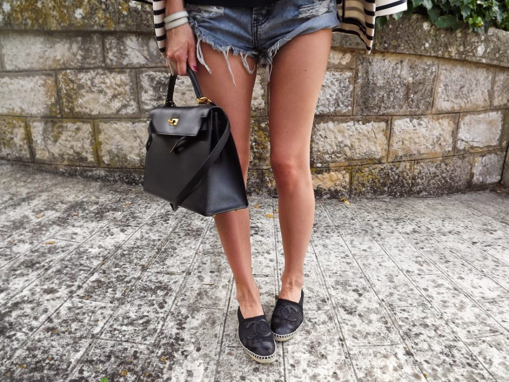 oneteaspoon, vanessa bruno, &otherstories, denim shorts, cannes, streetstyle, chanel espadilles, hermès kelly, outfit, look du jout