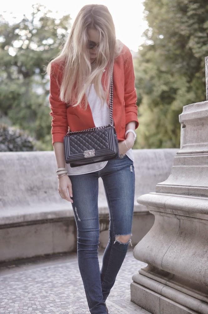 sandro, frame denim, ripped jeans, chanel, vuitton, paris, fashion blogger, look du jour, outfit