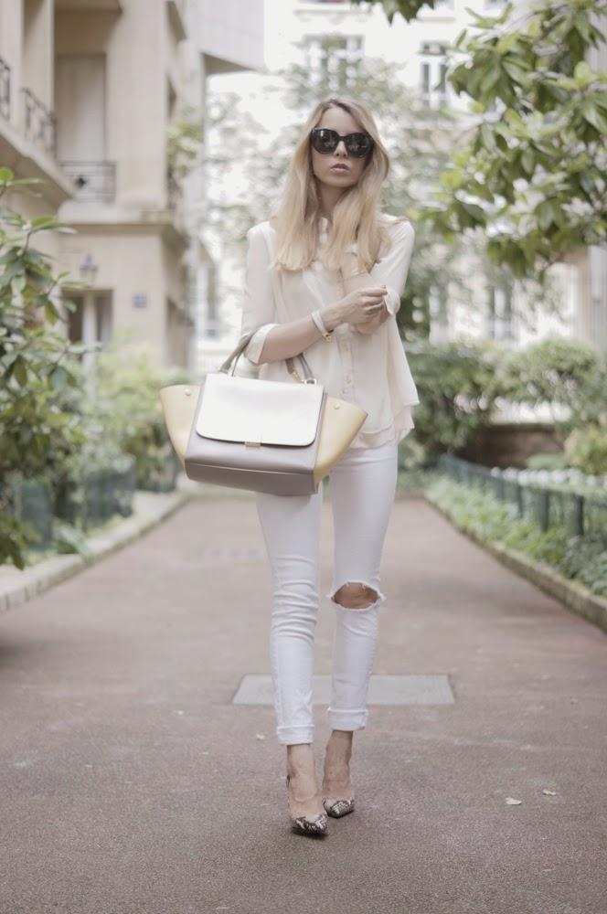 topshop, céline, zara, powder pink, ripped jeans, silk shirt, outfit, look du jour, neutrals, fashion blogger, streetstyle