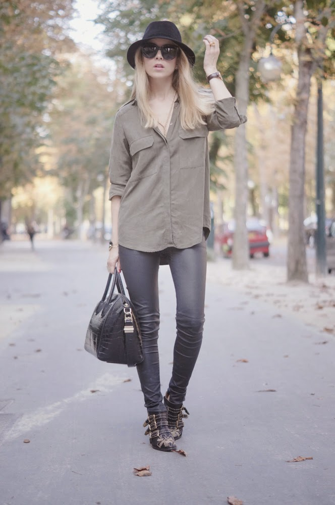 zara, blk dnm, leather pants, chloé, givenchy, military, fashion blogger, streetstyle, outfit, look du jour