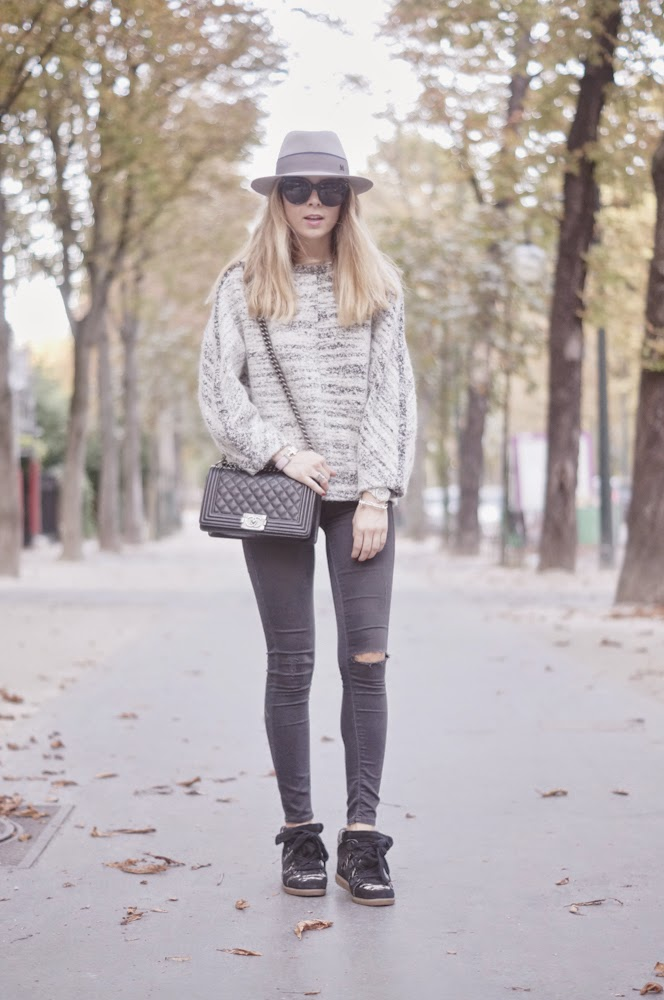 isabel marant, total look, topshop, maison michel, chanel boy, streetstyle, paris, effortless, look du jour, outfit