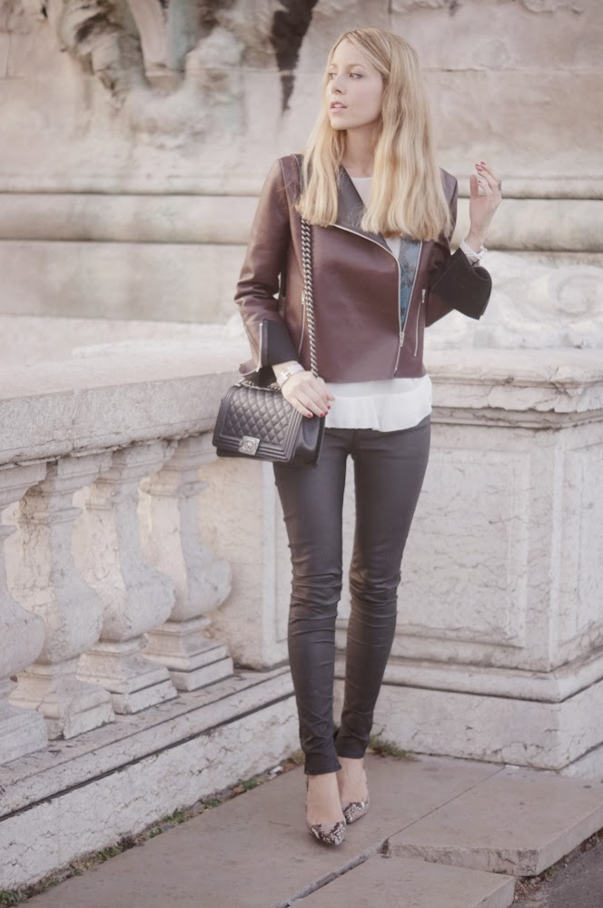 céline, leather jacket, blk dnm, streetstyle, eiffel tower, chanel, zara, paris, fashion blogger, outfit, look du jour