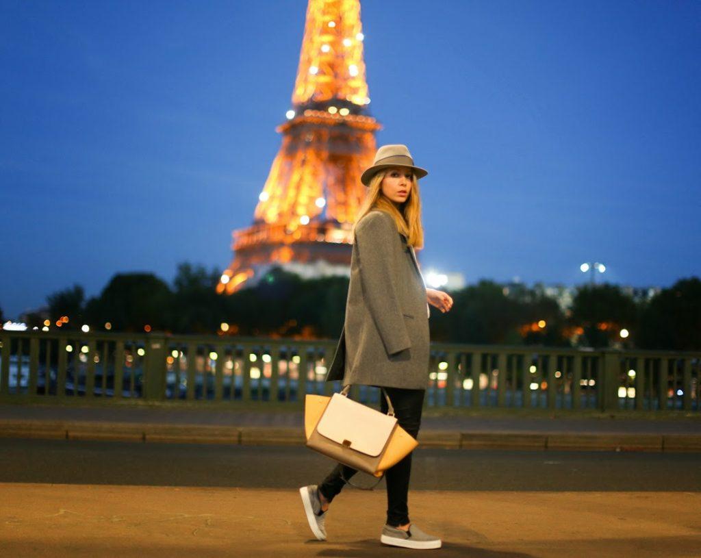 cos, céline, céline shoes, maison michel, blk dnm, leather pants, eiffel tower, paris, fashion blogger, paris by night, effortless