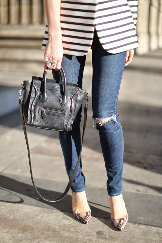 &otherstories, striped jacket, zara, python shoes, céline nano, ripped jeans, frame denim, paris, streetstyle, fashion blogger