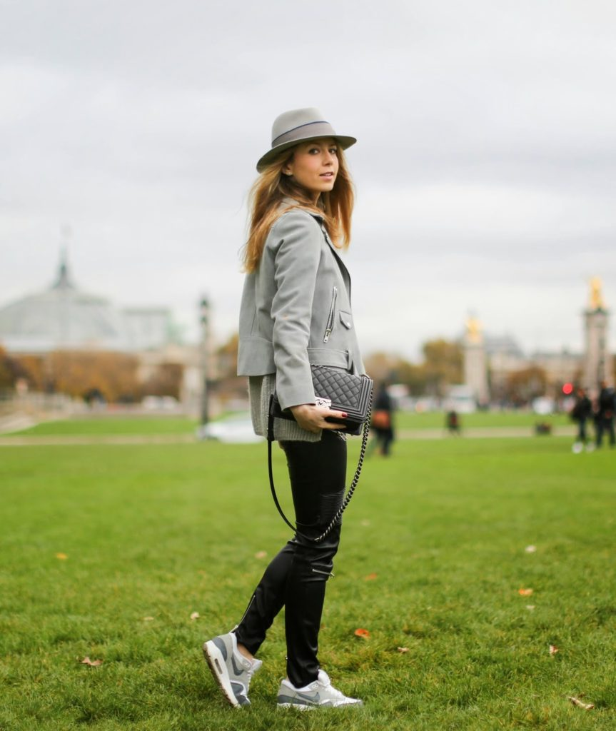 zara, leather pants, edgy, leather jacket, sandro, maison michel, nike air max, chanel boy, streetstyle, fashion blogger, invalides