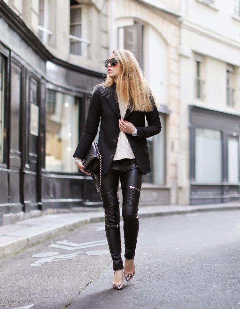leather pants, cable knit sweater, sandro, zara, vanessa bruno, chanel, python pumps, saint germain, streetstyle, fashion blogger