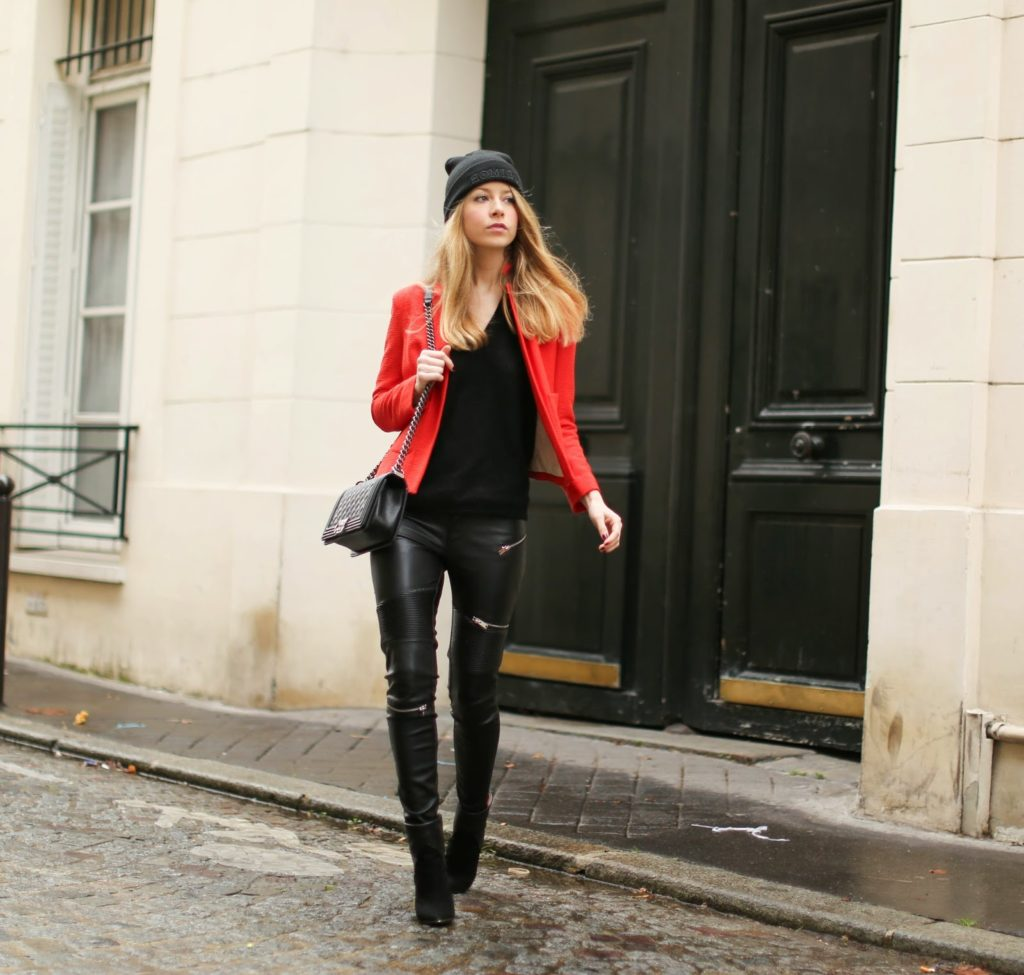 red, sandro, biker pants, zara, chanel, beanie, colette, Iro, streetstyle, fashion blogger