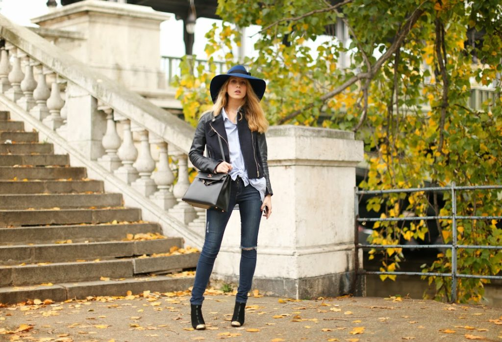 maje, &otherstories, frame denim, hermès kelly, chanel, ripped jeans, leather jacket, streetstyle, fashion blogger,hat, paris