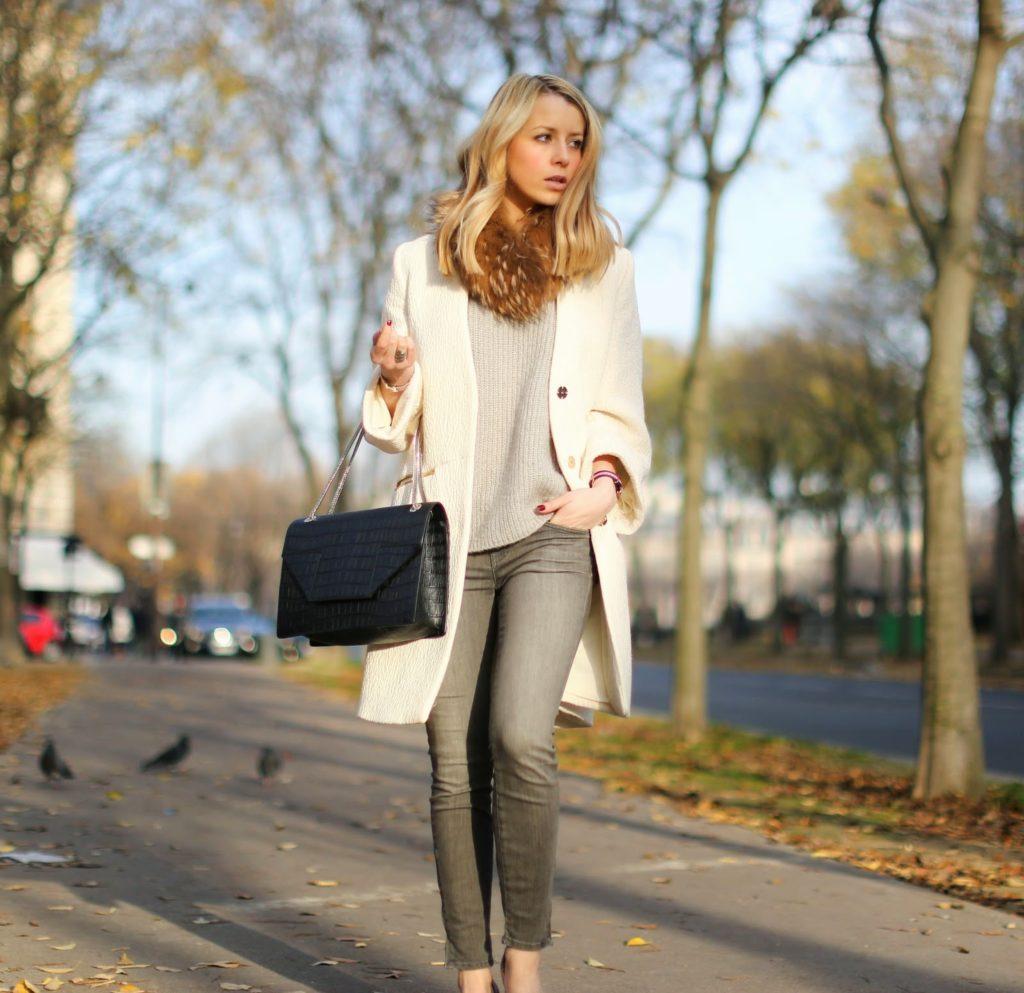 white, zara, brand, zara shoes, fur collar, saint laurent betty, fashion blogger, street style, paris