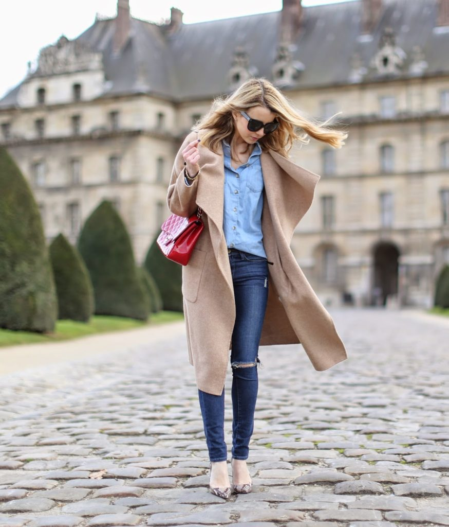 denim on denim, camel coat, zara, topshop, chanel, frame denim, python heels, streetstyle, fashion blogger, paris