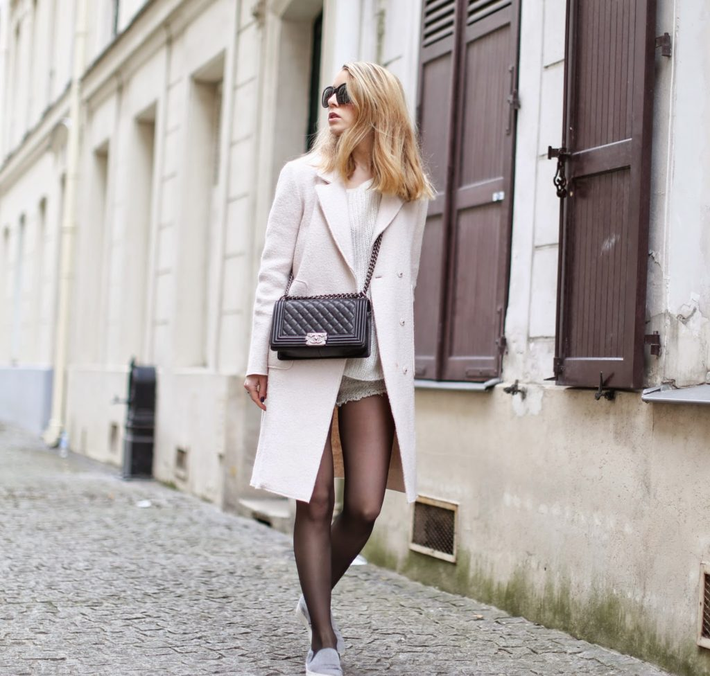 pink coat, zara, chanel, céline, iro, tweed shorts, streetstyle, paris