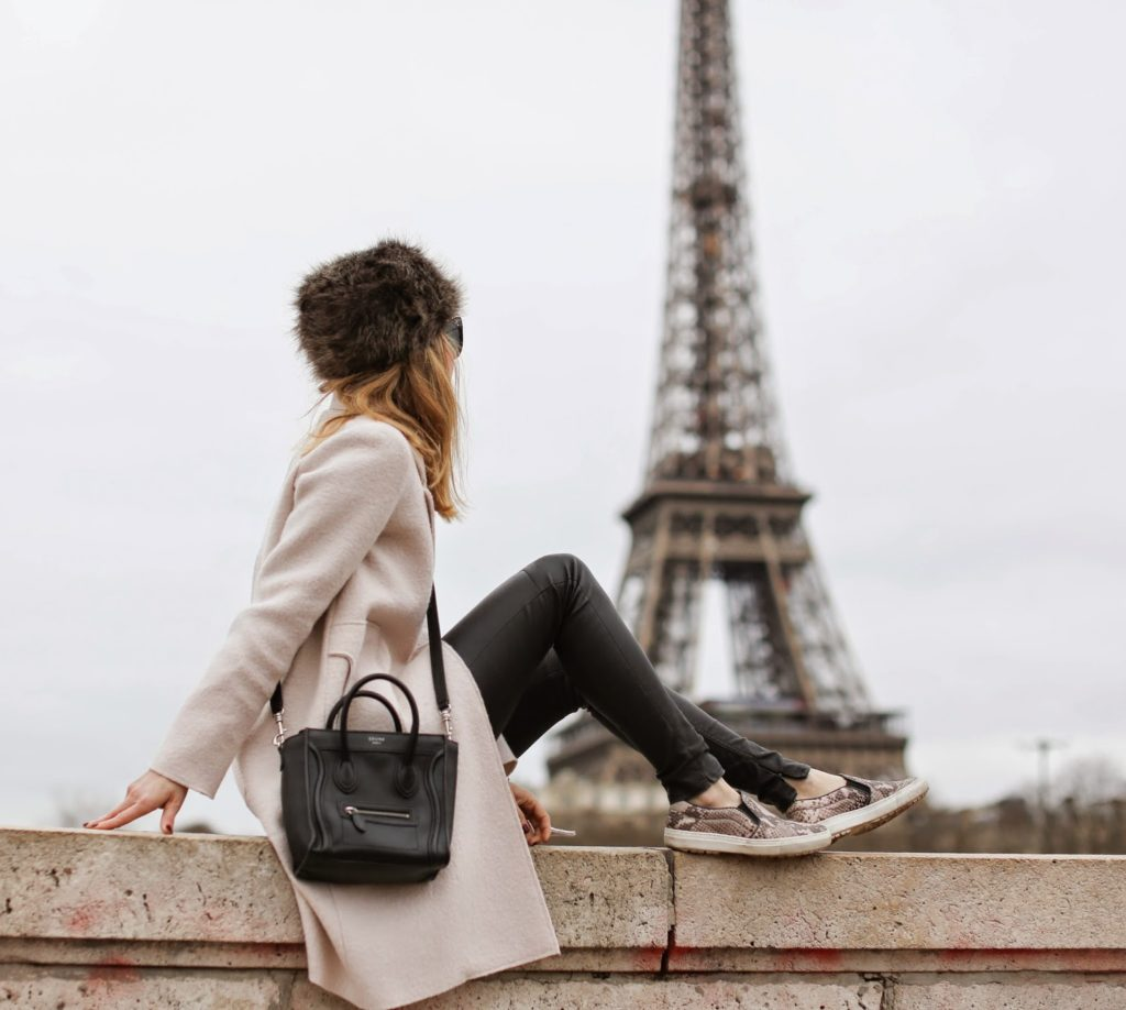 zara, pale pink, python slipons, blk dnm, fur hat, eiffel tower, streetstyle paris, fashion blogger