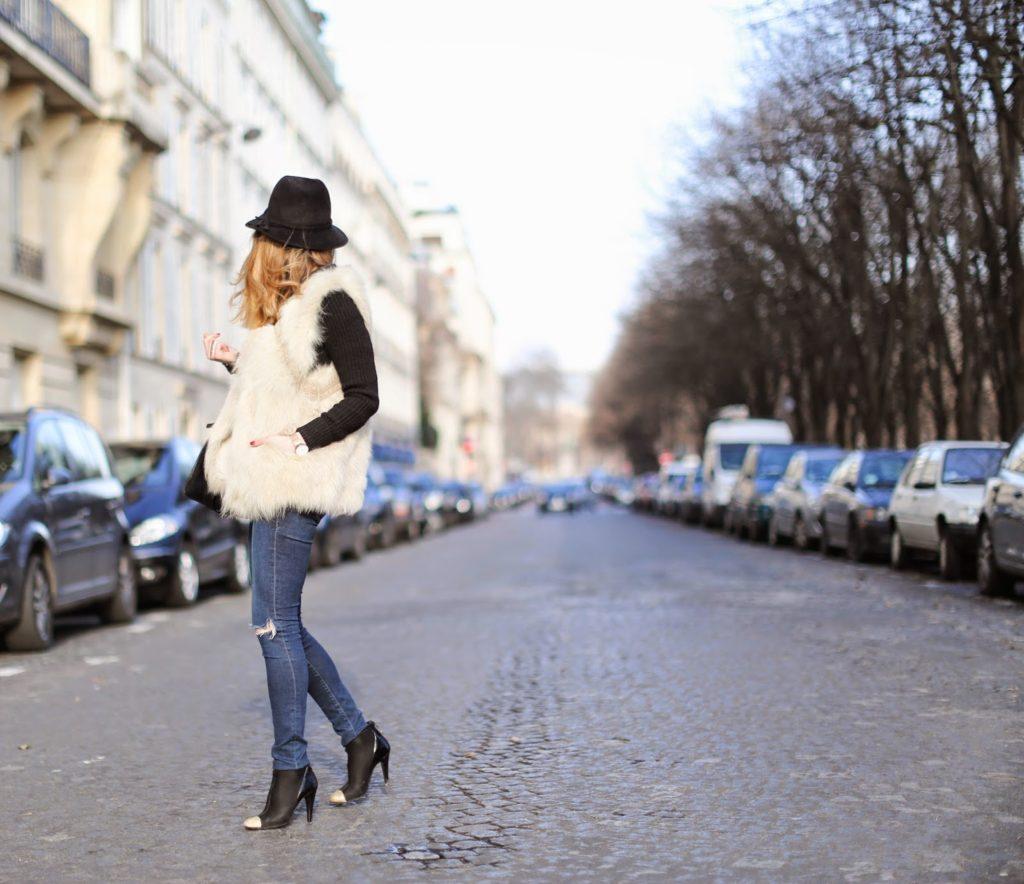 pardonmyobsession, fur, maje, chanel, frame denim, hat, givenchy, streetstyle, fashion blogger