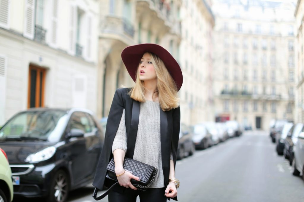 hat, maison michel, pearl and rubies, streetsyle, paris fashion week, &otherstories, chanel, blk dnm