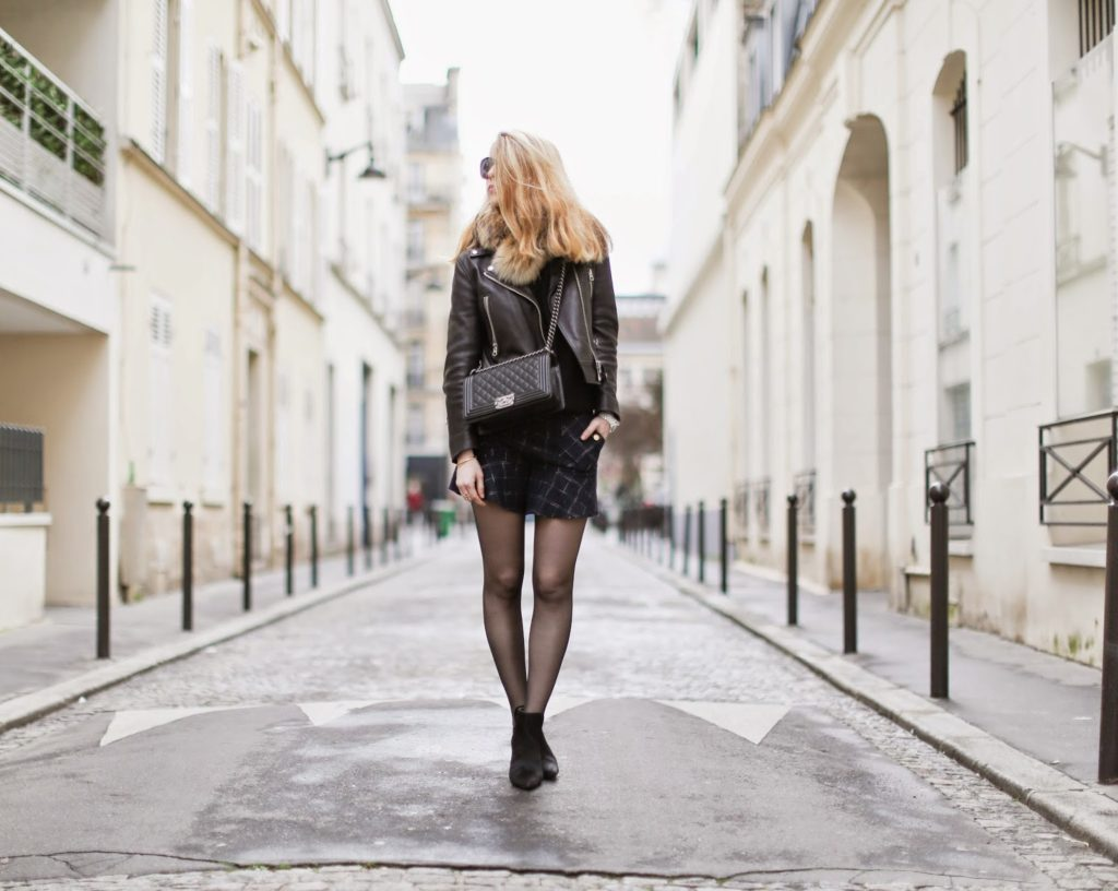 pardon my obsession, shorts, blogger, chanel, zara, acne, fur, paris, streetstyle