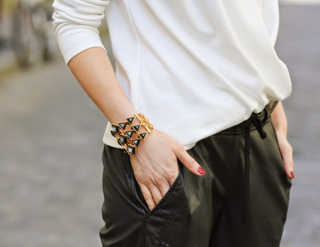 scarf, kenzo, jogger leather pants, iro, pardon my obsession, streetstyle